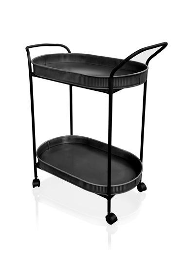 The Mia Servis Arabası - Siyah 80 x 46 x 32 Cm Siyah